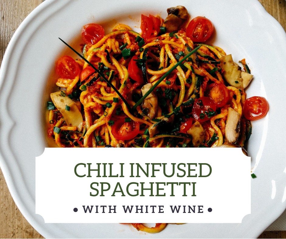 Chili Infused Spaghetti with Chili Infused Extra-Virgin Olive Oil