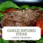Garlic Infused Steak with Olivus Floris Extra-Virgin Olive Oil
