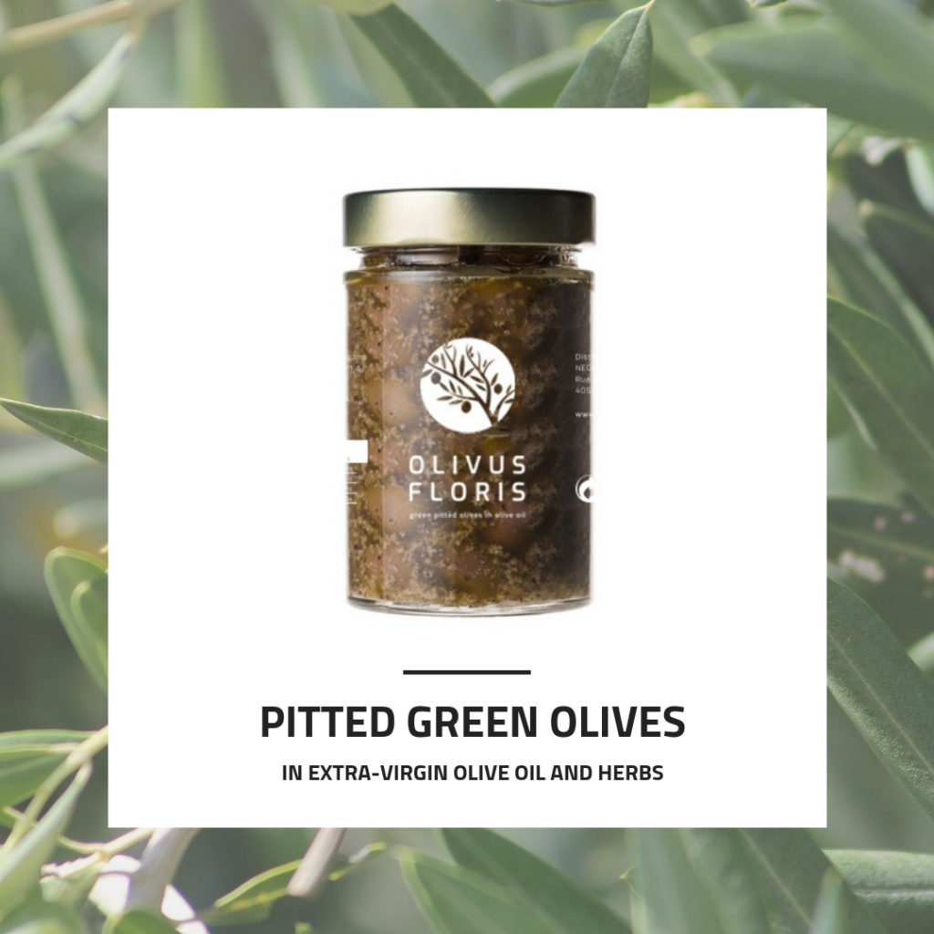 Table Green Pitted Olives in Olive Oil