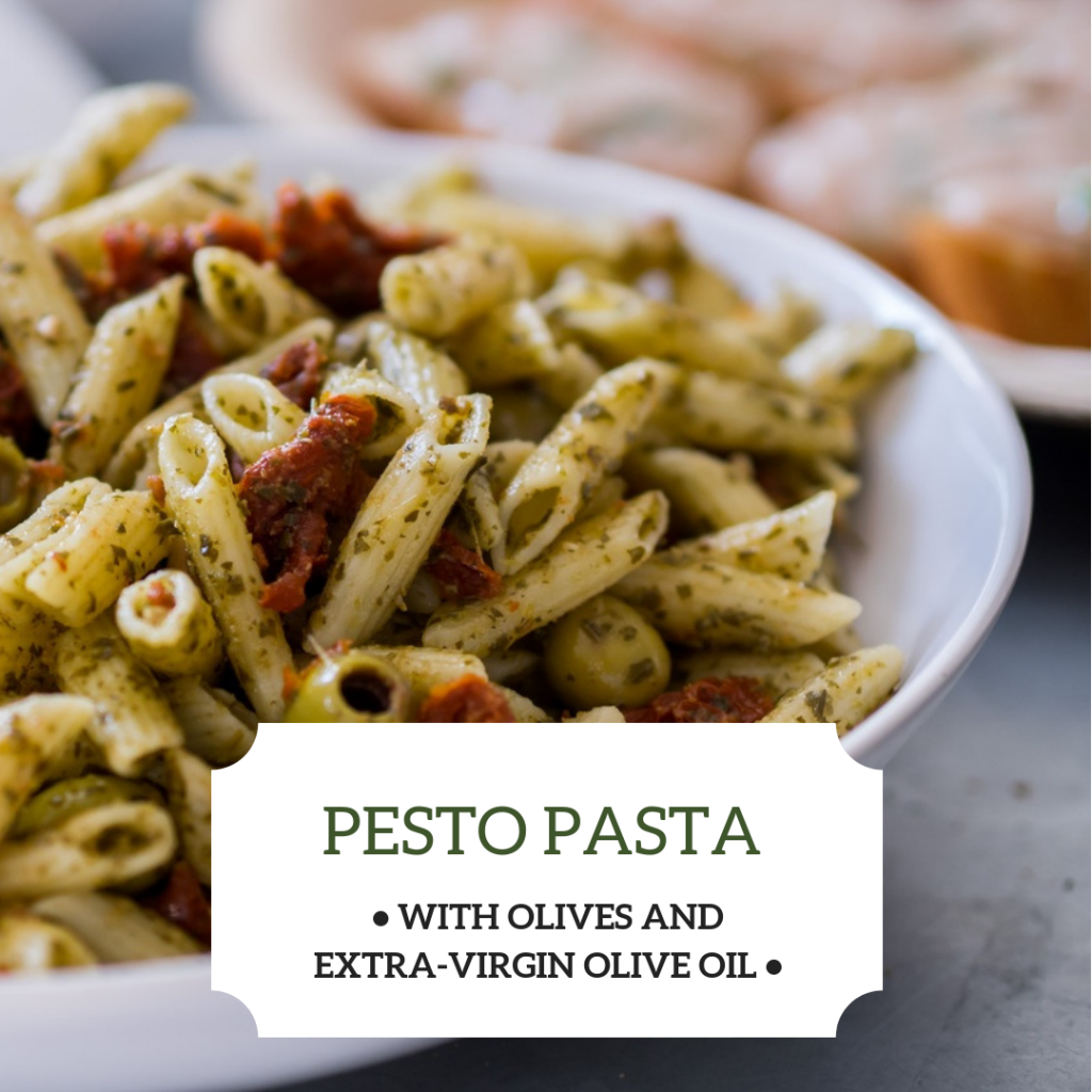 Pesto pasta with Olivus Floris Olives and Extra-Virgin Olive Oil